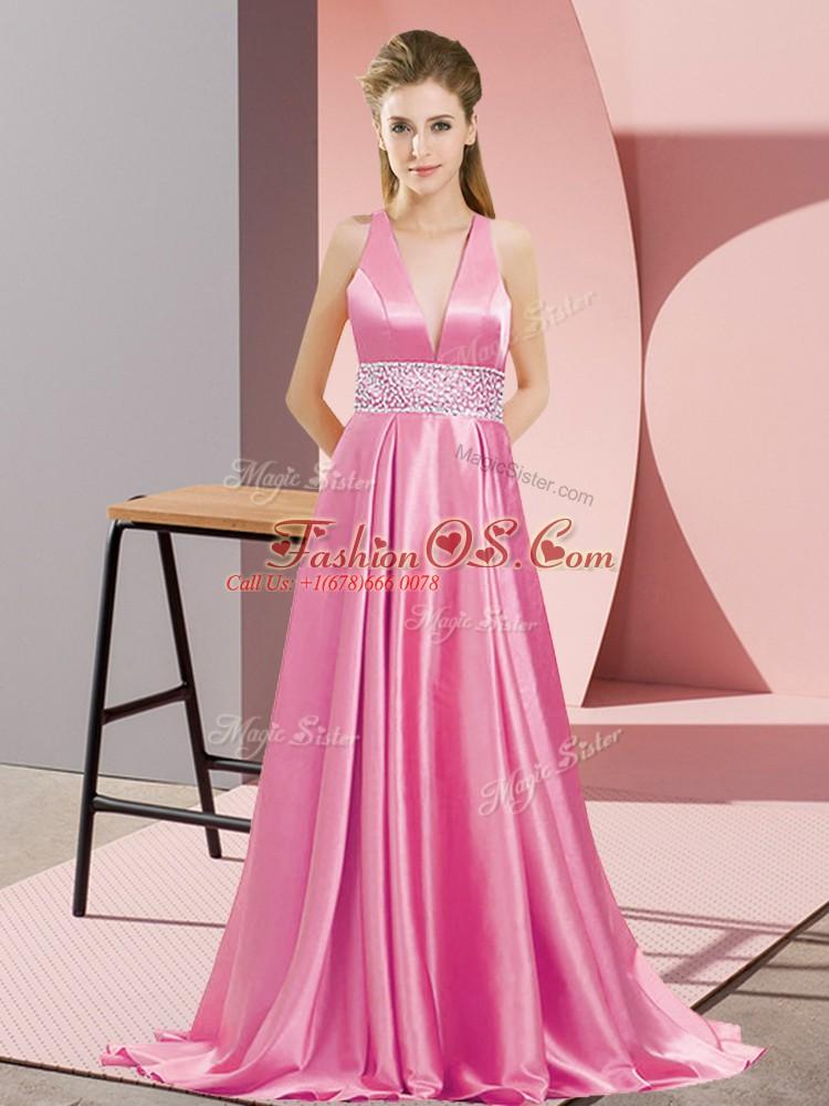 Rose Pink Elastic Woven Satin Backless Sleeveless Brush Train Beading