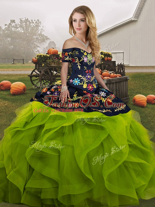 Floor Length Yellow Green Sweet 16 Quinceanera Dress Off The Shoulder Sleeveless Lace Up