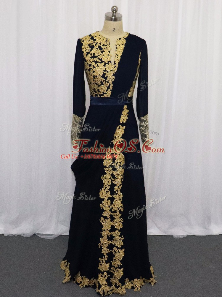 Best Selling Scoop Long Sleeves Prom Dresses Floor Length Lace and Appliques Navy Blue Chiffon