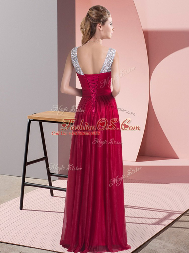 Adorable Chiffon Sleeveless Floor Length Quinceanera Court of Honor Dress and Beading