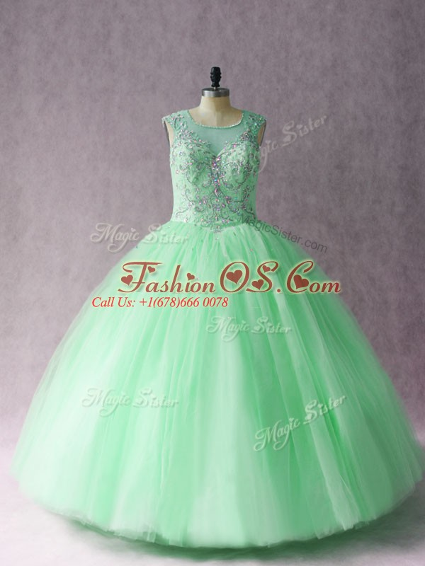 Glamorous Apple Green Ball Gown Prom Dress Sweet 16 and Quinceanera with Beading Scoop Sleeveless Lace Up