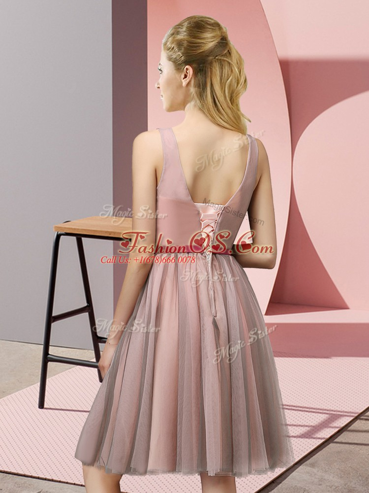 Tulle V-neck Sleeveless Lace Up Appliques Court Dresses for Sweet 16 in Lavender
