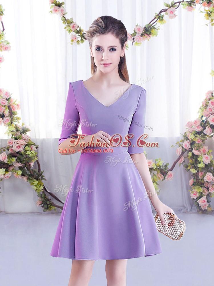Best Lavender V-neck Zipper Ruching Court Dresses for Sweet 16 Half Sleeves
