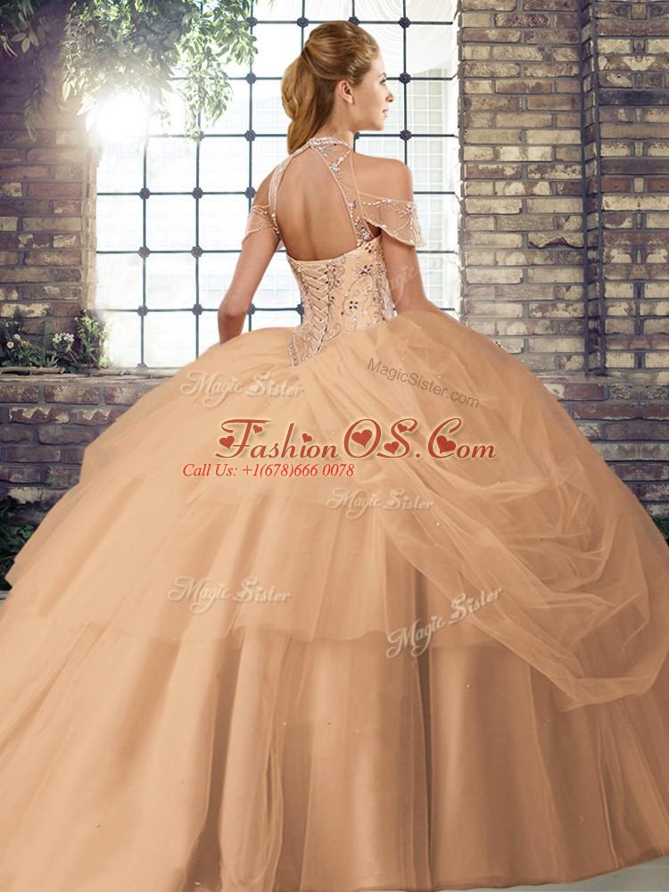 Purple Lace Up Ball Gown Prom Dress Beading and Pick Ups Sleeveless Brush Train