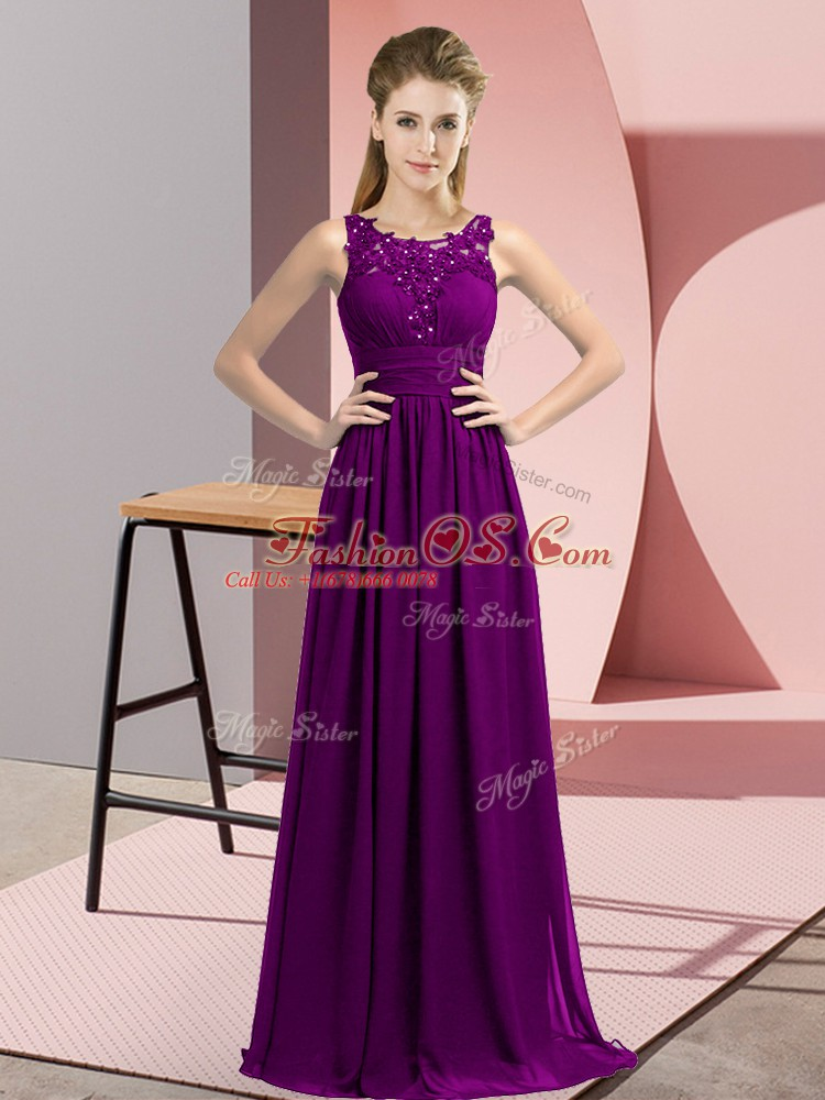 Sleeveless Floor Length Beading and Appliques Zipper Bridesmaid Dresses with Purple