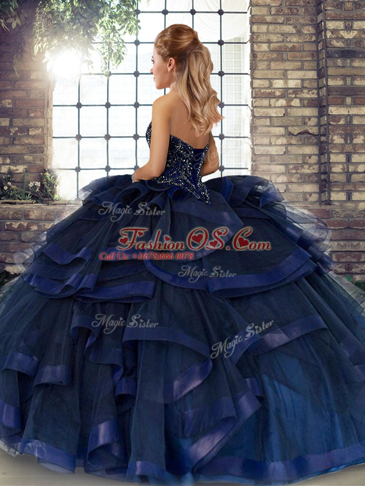 Exquisite Sleeveless Tulle Floor Length Lace Up Vestidos de Quinceanera in Navy Blue with Beading and Ruffles