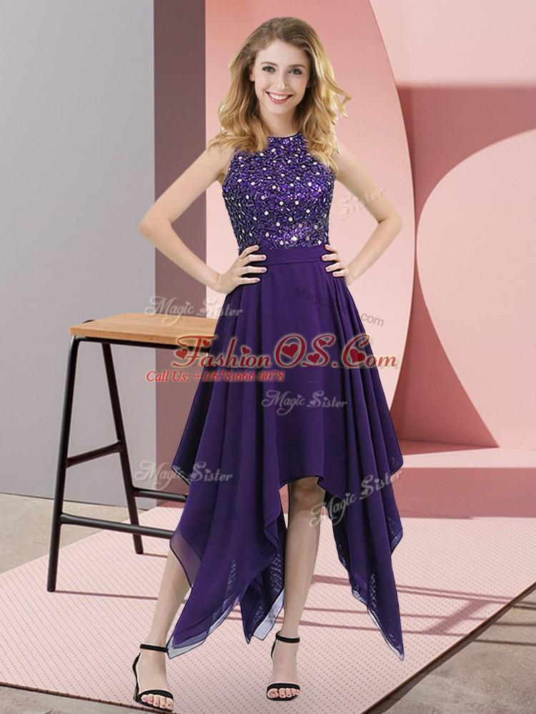 Trendy Purple Chiffon Zipper High-neck Sleeveless Asymmetrical Beading and Sequins