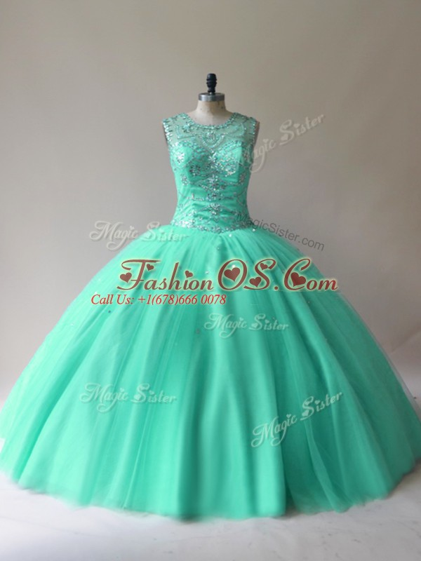 New Style Tulle Sleeveless Floor Length Vestidos de Quinceanera and Beading