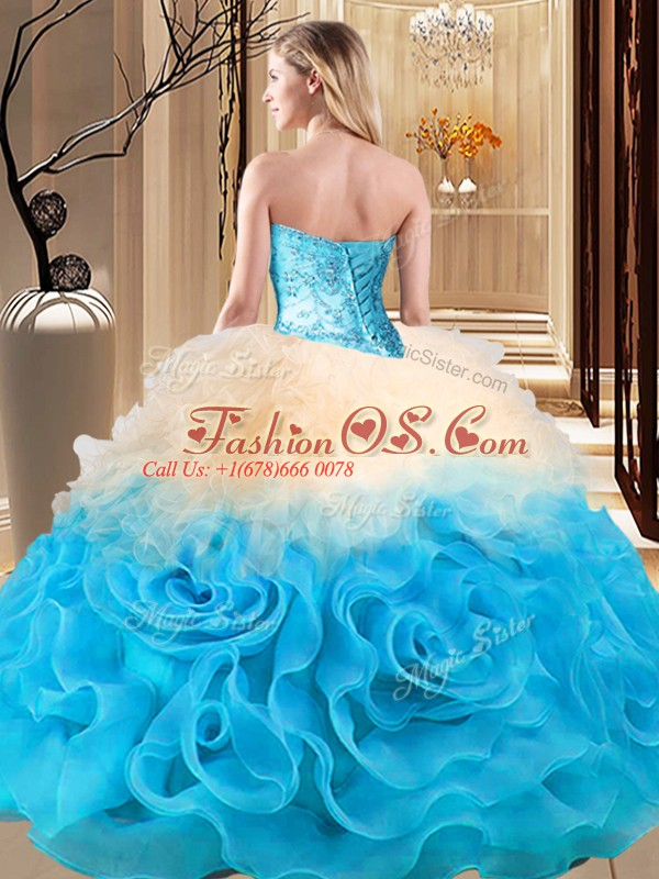 Free and Easy Ball Gowns Quinceanera Dress Multi-color Sweetheart Fabric With Rolling Flowers Sleeveless Floor Length Lace Up