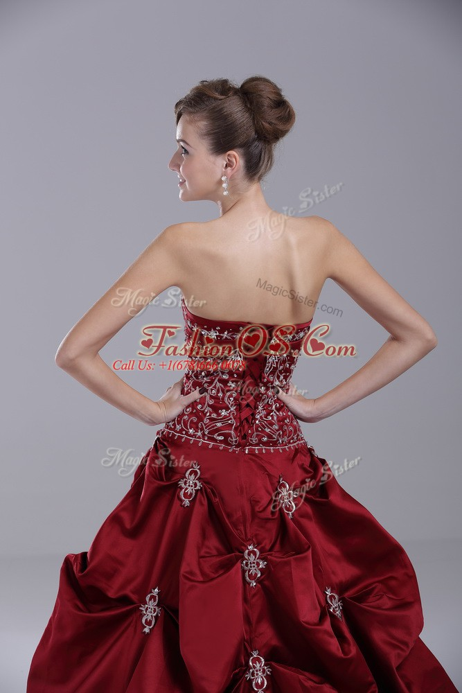 Wine Red Sleeveless Taffeta Brush Train Lace Up 15th Birthday Dress for Sweet 16 and Quinceanera