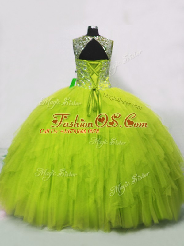 Suitable Floor Length Yellow Green Sweet 16 Dress Tulle Sleeveless Beading and Ruffles