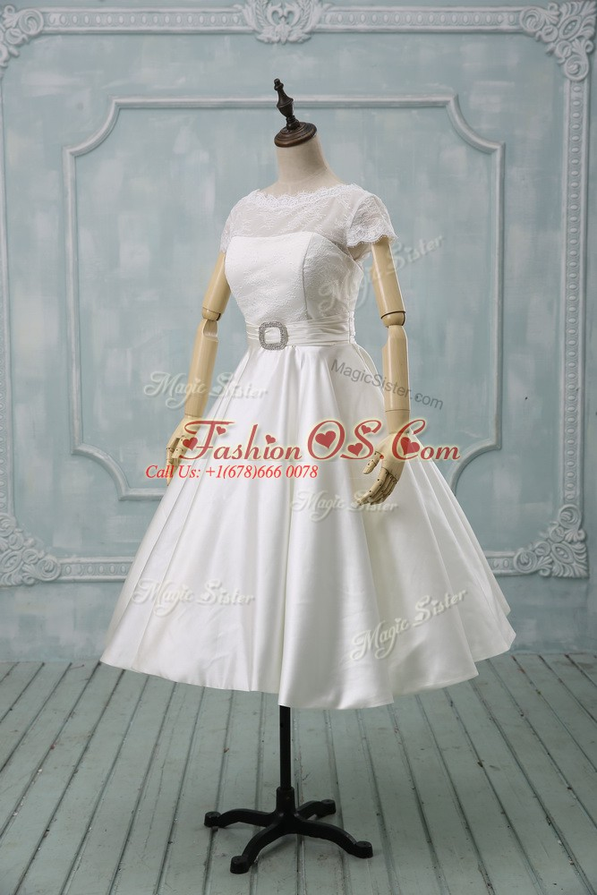 Exquisite Scoop Short Sleeves Tulle Wedding Dress Lace and Sashes ribbons Clasp Handle