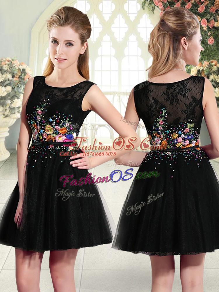 Fine Black Tulle Side Zipper Prom Dresses Sleeveless Mini Length Beading and Embroidery