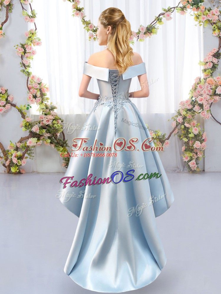 Cute High Low Lace Up Wedding Party Dress Green for Prom and Party and Wedding Party with Appliques