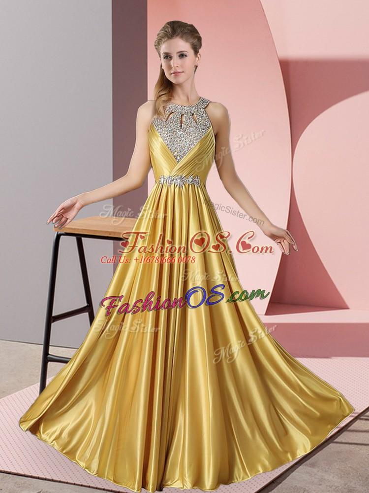 Extravagant Halter Top Sleeveless Satin Evening Dress Beading Lace Up