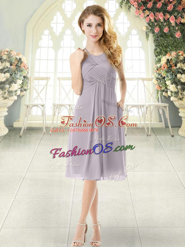 Traditional Grey Empire Halter Top Sleeveless Chiffon Knee Length Zipper Ruching Evening Dress
