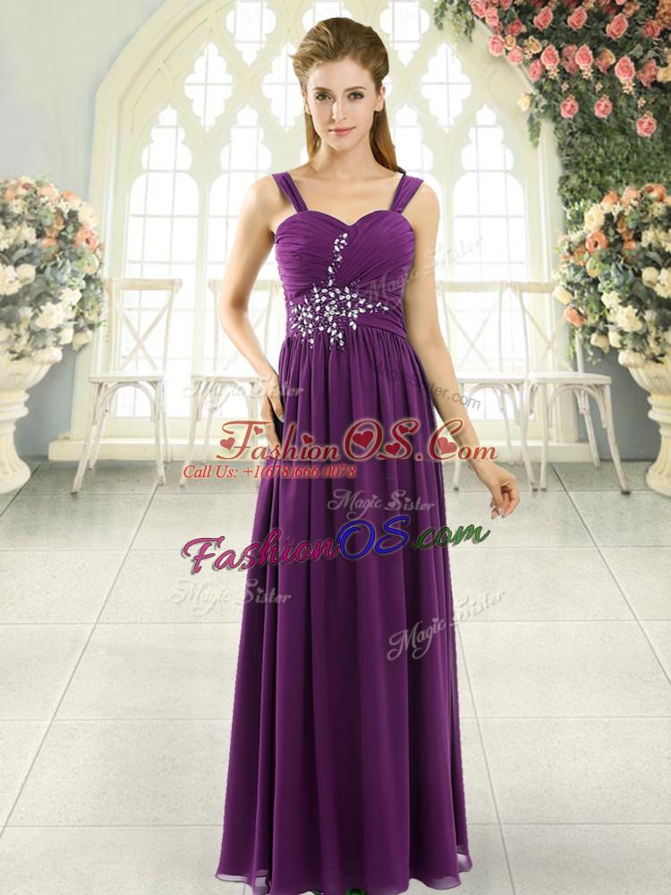Dark Purple Empire Spaghetti Straps Sleeveless Chiffon Floor Length Lace Up Beading and Ruching Homecoming Dress