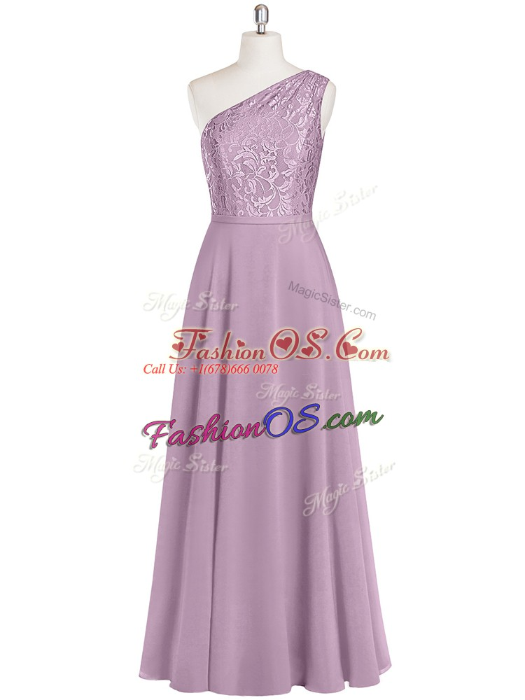Purple Zipper One Shoulder Lace Homecoming Dress Chiffon Sleeveless