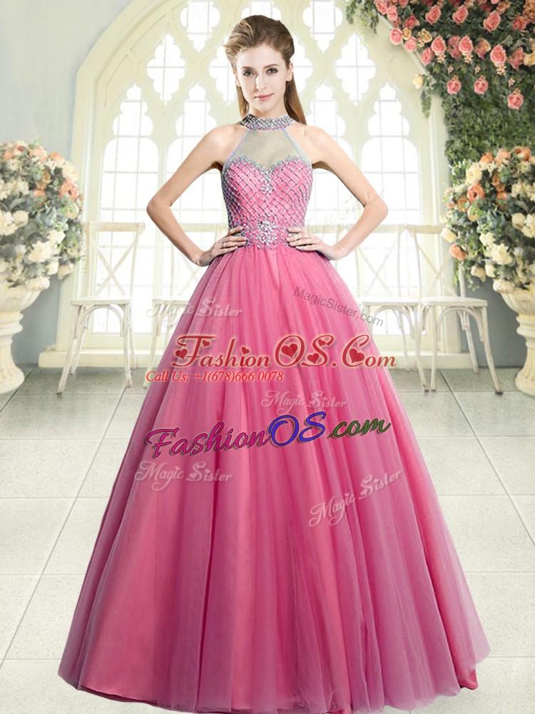 Pink A-line Halter Top Sleeveless Tulle Floor Length Zipper Beading