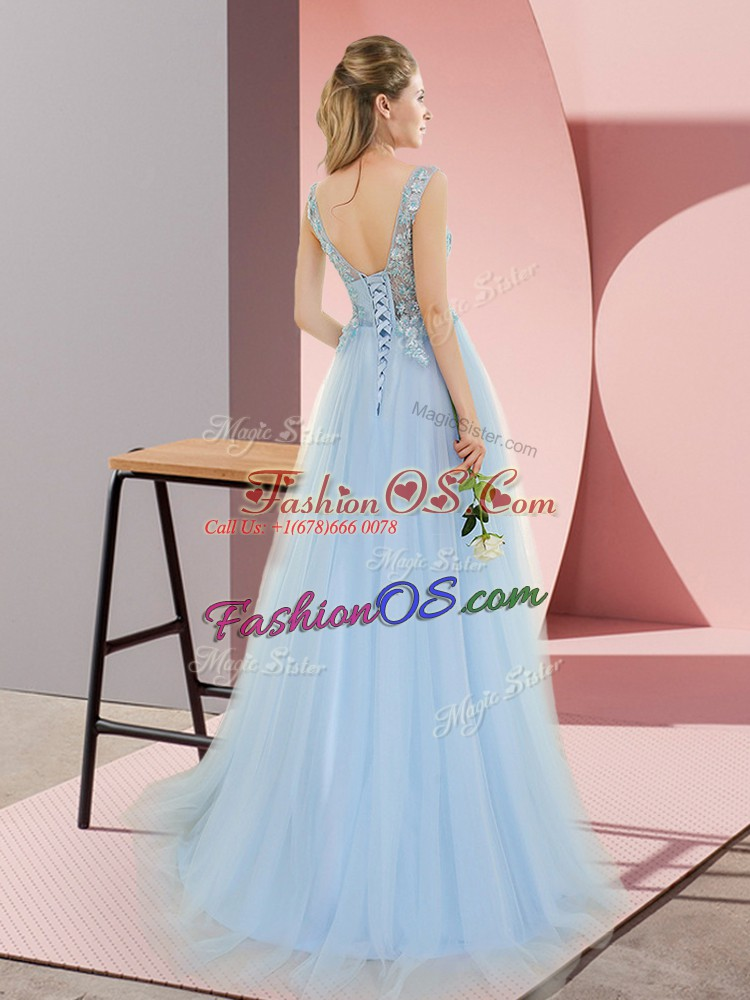 High End Blue Prom Gown Prom and Party with Beading V-neck Sleeveless Sweep Train Lace Up