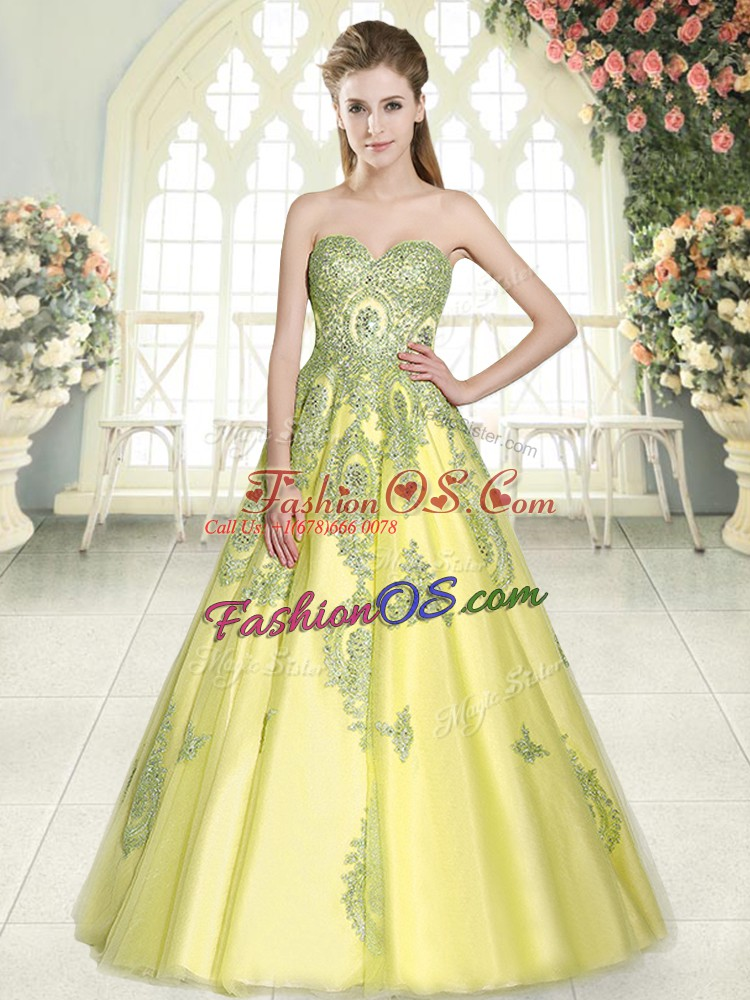 Affordable Floor Length Lace Up Prom Dresses Yellow Green for Prom and Party with Appliques