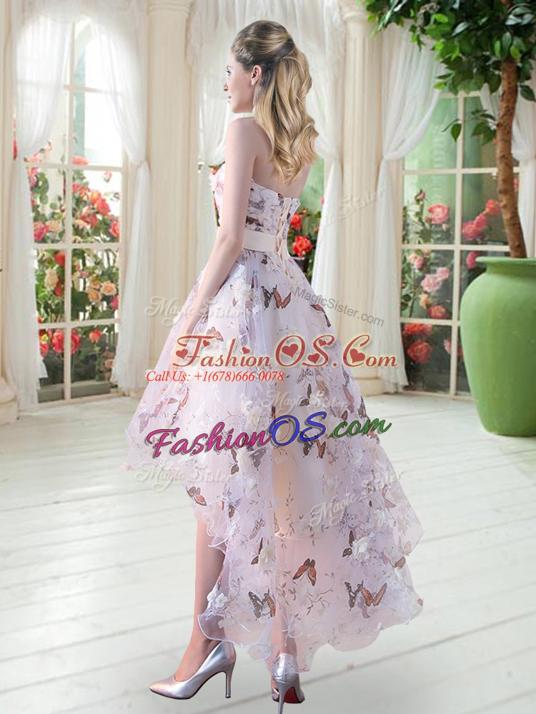 White A-line Organza Strapless Sleeveless Appliques High Low Lace Up Prom Dress