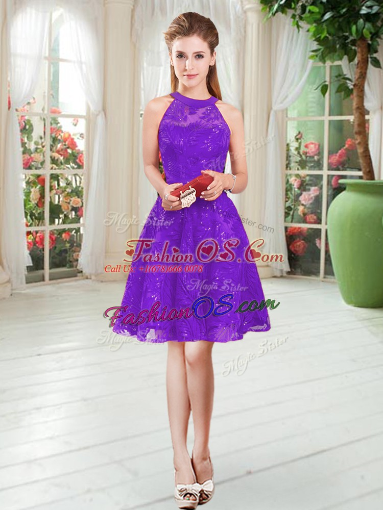 Discount Lace Prom Evening Gown Purple Zipper Sleeveless Knee Length