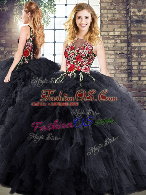 Black Scoop Neckline Embroidery and Ruffles Sweet 16 Quinceanera Dress Sleeveless Zipper