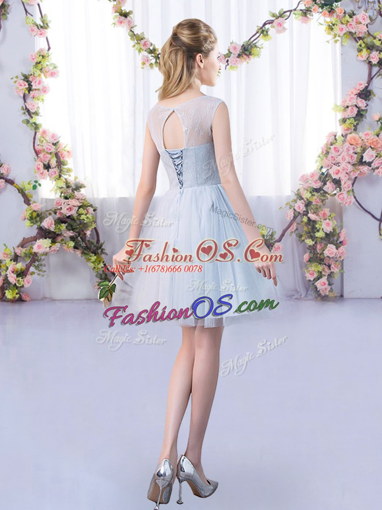 Grey Tulle Lace Up Dama Dress for Quinceanera Sleeveless Mini Length Lace