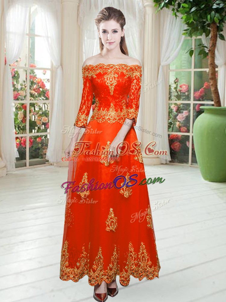 Luxury 3 4 Length Sleeve Lace Up Floor Length Lace Homecoming Dress