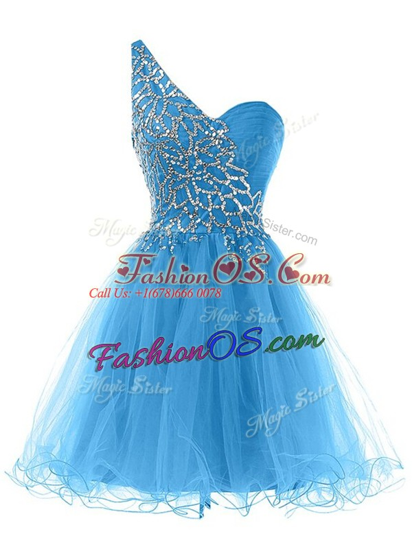 Blue One Shoulder Neckline Beading Prom Dress Sleeveless Lace Up