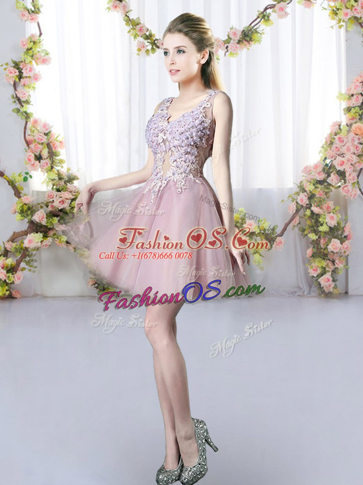 Most Popular V-neck Sleeveless Court Dresses for Sweet 16 Mini Length Appliques Pink Tulle