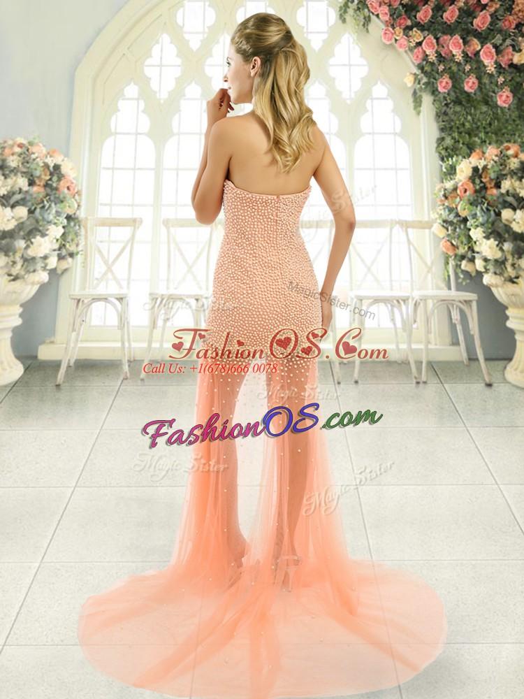 Sumptuous Sleeveless Brush Train Zipper Beading Prom Party Dress