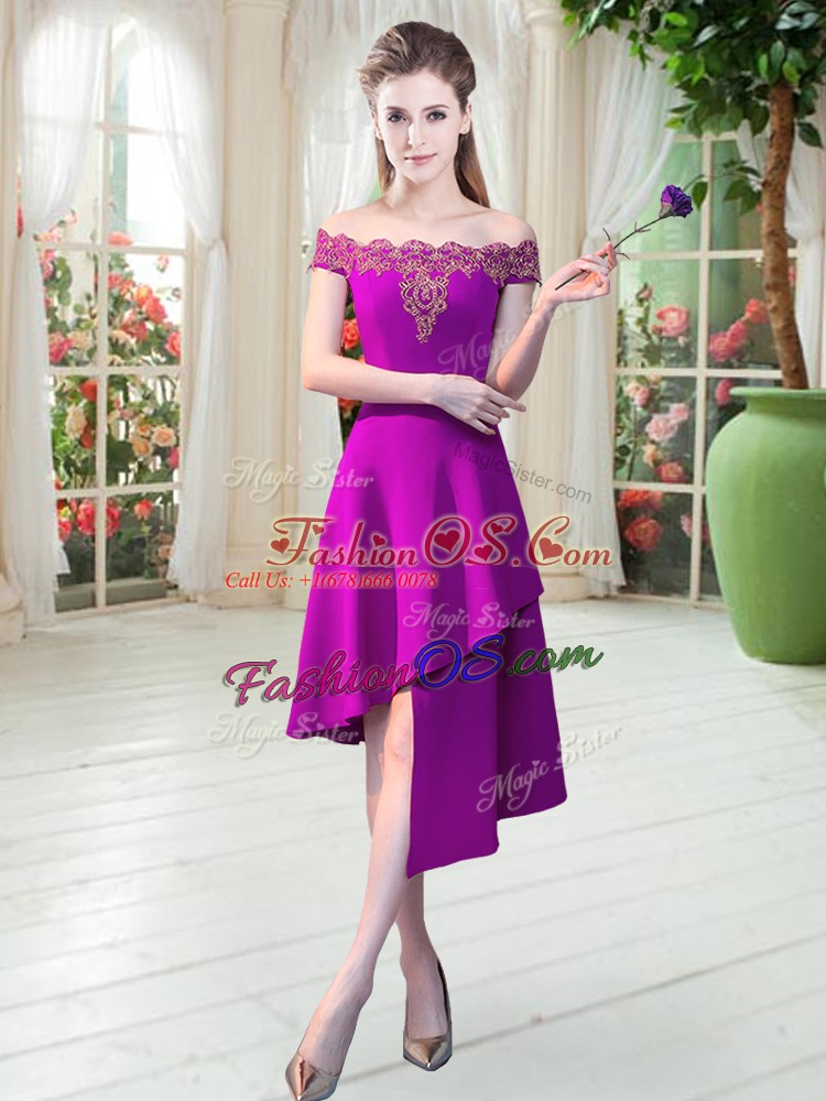 Comfortable Sleeveless Asymmetrical Appliques Zipper Prom Evening Gown with Purple