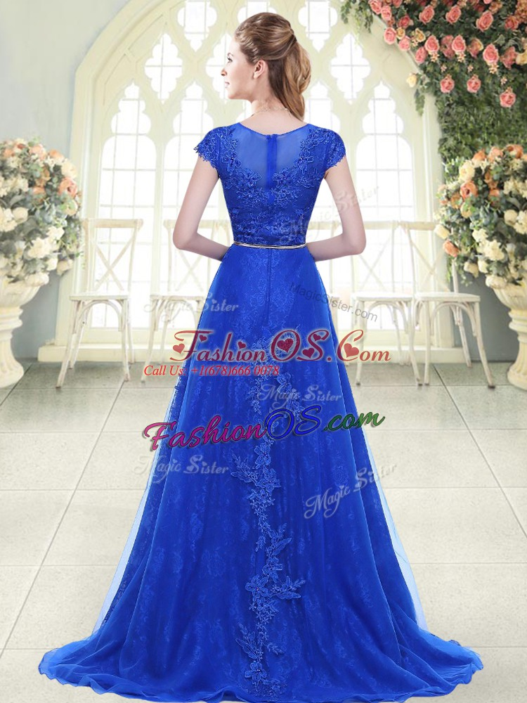 Aqua Blue and Green Zipper Scoop Beading and Lace Prom Dresses Tulle Cap Sleeves Sweep Train