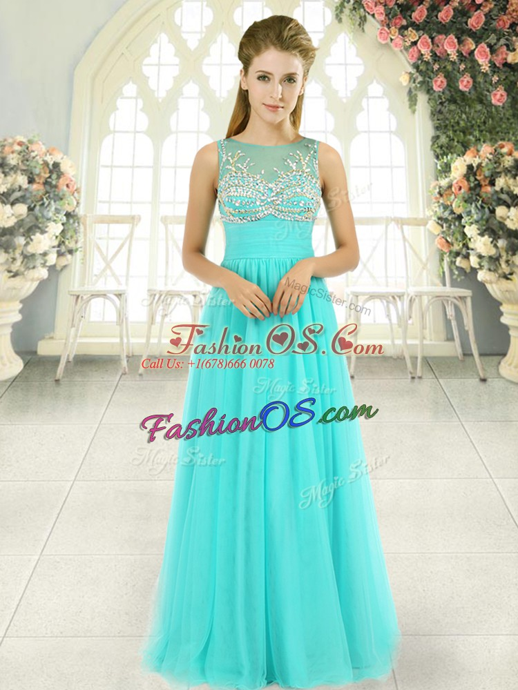 Empire Prom Evening Gown Aqua Blue Scoop Tulle Sleeveless Floor Length Backless