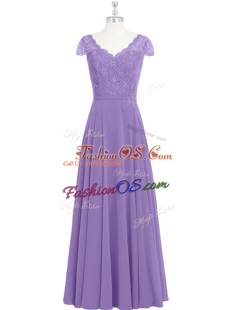 Custom Fit Lavender Chiffon Zipper Scalloped Cap Sleeves Floor Length Prom Evening Gown Lace