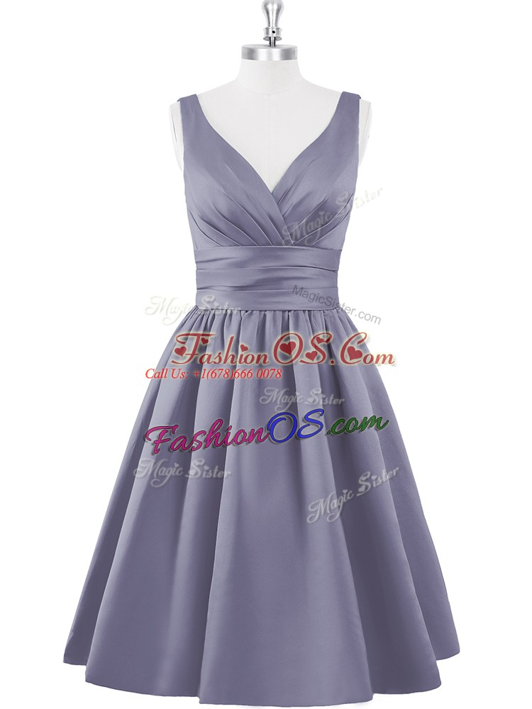 Sleeveless Satin Knee Length Zipper Prom Evening Gown in Grey with Ruching