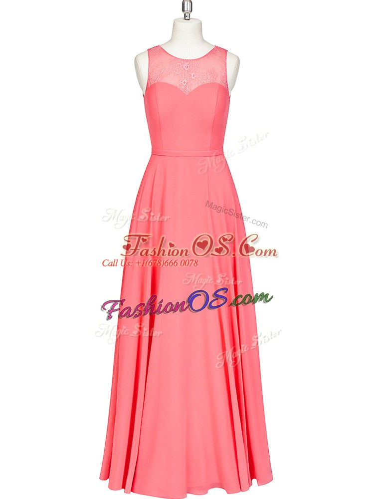 Sleeveless Floor Length Lace and Belt Zipper Homecoming Dress with Watermelon Red