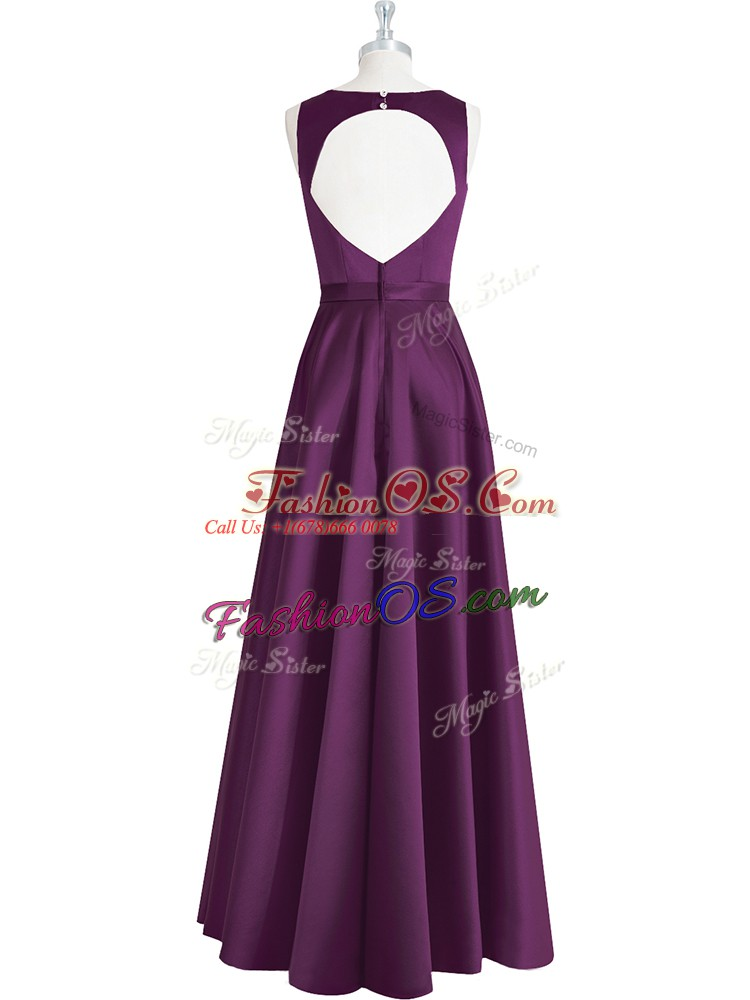 Best Eggplant Purple Backless Prom Evening Gown Ruching and Pleated Sleeveless Floor Length