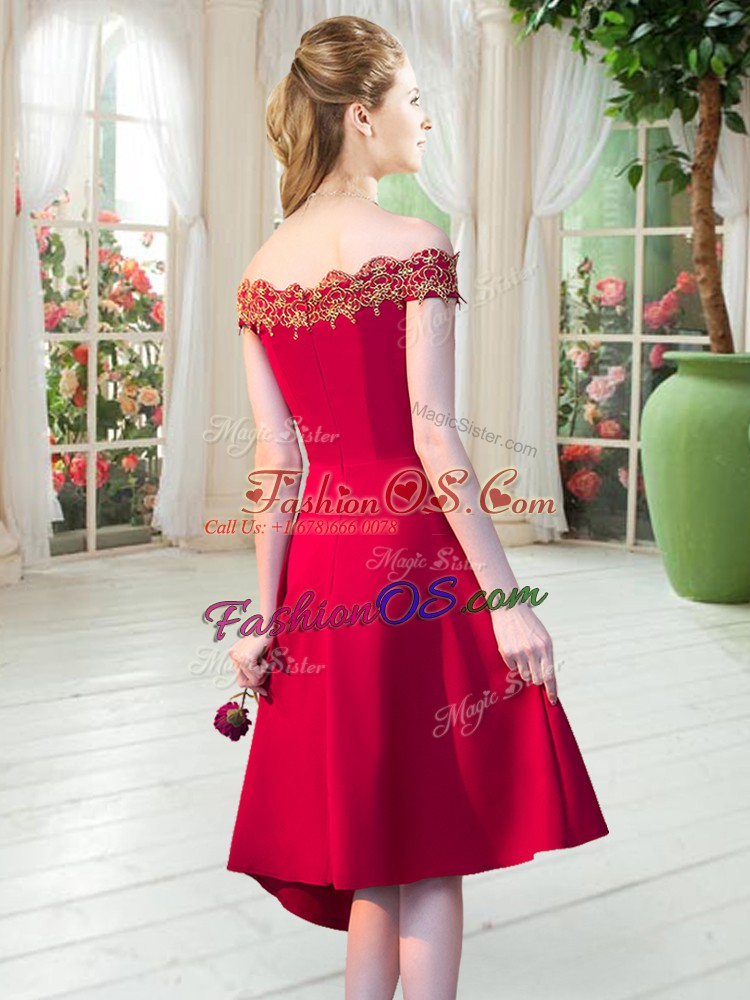 Satin Sleeveless Asymmetrical Prom Party Dress and Appliques