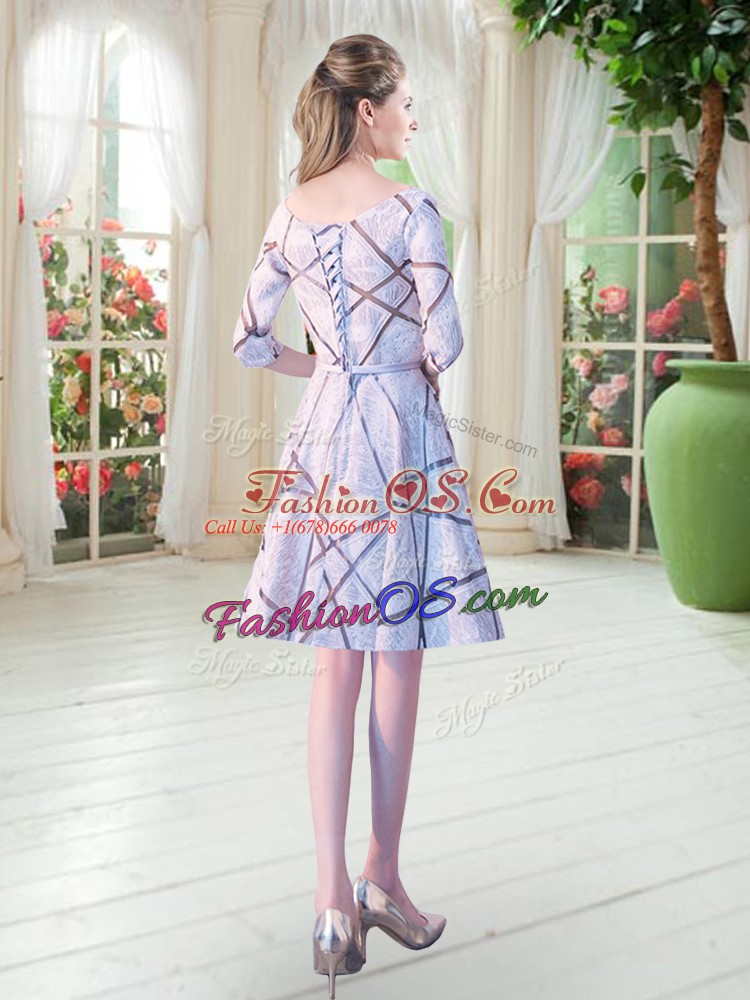 Lace Up Prom Party Dress Half Sleeves Knee Length Ruching