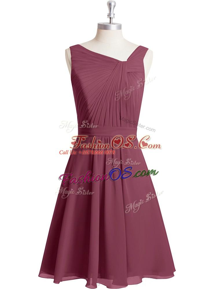 Luxurious Knee Length Red Asymmetric Sleeveless Zipper