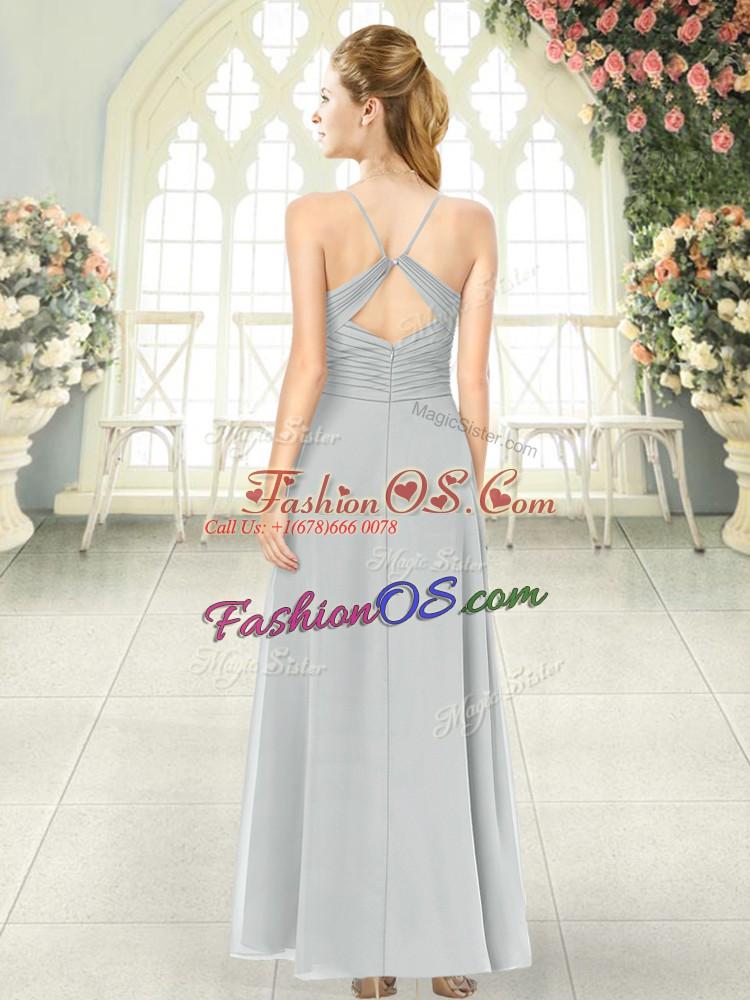 Beautiful Grey Sleeveless Ruching Ankle Length Prom Dress