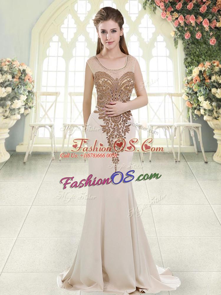 White Elastic Woven Satin Side Zipper Scoop Sleeveless Dress for Prom Sweep Train Beading
