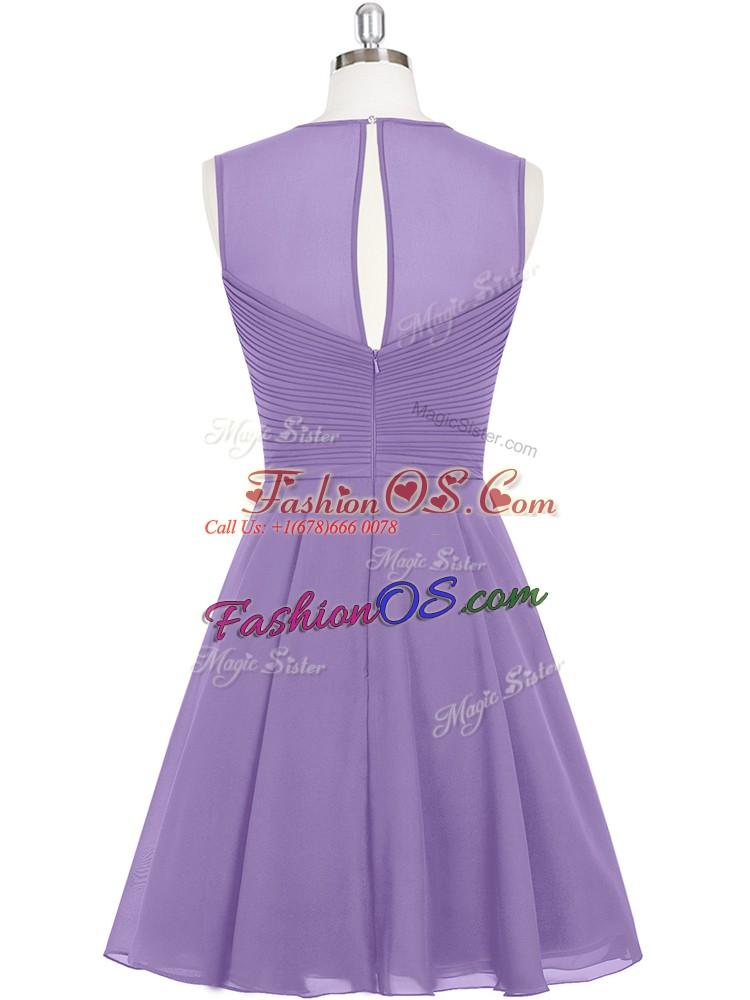 High Class Purple A-line Scoop Sleeveless Chiffon Mini Length Zipper Ruching Prom Evening Gown