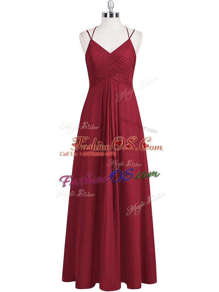 Stunning Wine Red Sleeveless Floor Length Ruching Zipper Prom Gown