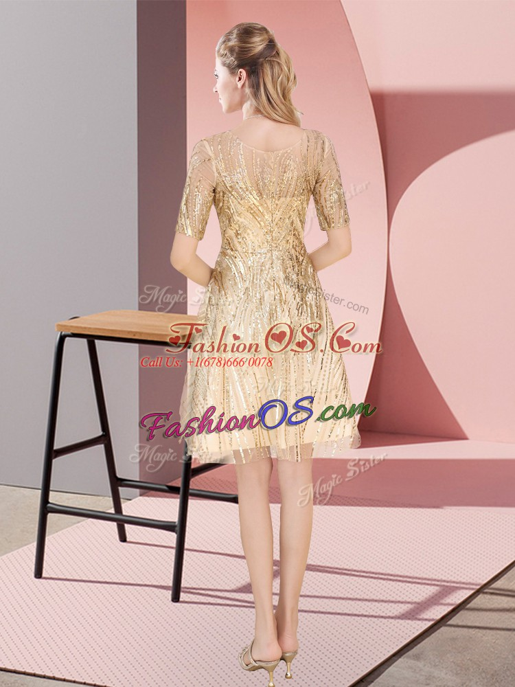 Pretty Sequined Half Sleeves Knee Length Homecoming Dress and Ruching