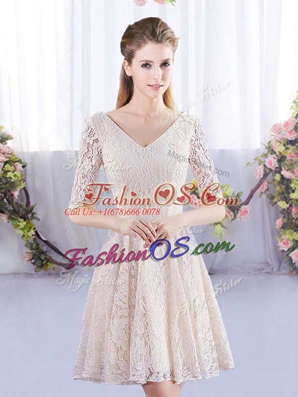Sexy Champagne Empire Scoop Short Sleeves Lace Mini Length Lace Up Quinceanera Court Dresses