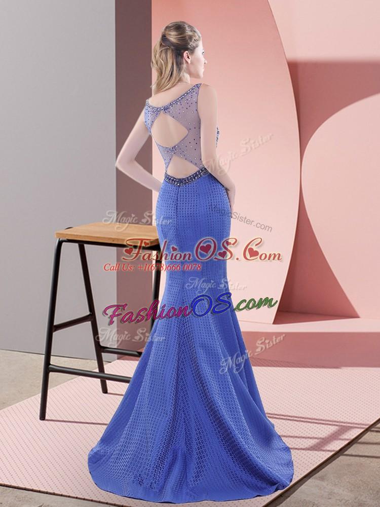 Satin Sleeveless Dress for Prom Sweep Train and Beading